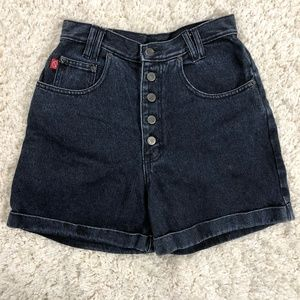 Vintage 90's exposed button fly midi mom shorts
